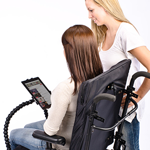 wheelchair with tablet holder